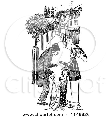 Clipart of a Retro Vintage Black and White Male Beggar and Woman - Royalty Free Vector Illustration by Prawny Vintage