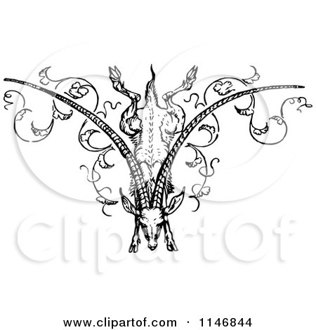 Clipart of a Retro Vintage Black and White Jumping Goat Forming the Letter V - Royalty Free Vector Illustration by Prawny Vintage