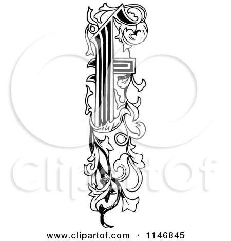 Clipart of a Retro Vintage Black and White Ornate Vertical Alphabet Letter Floral F - Royalty Free Vector Illustration by Prawny Vintage