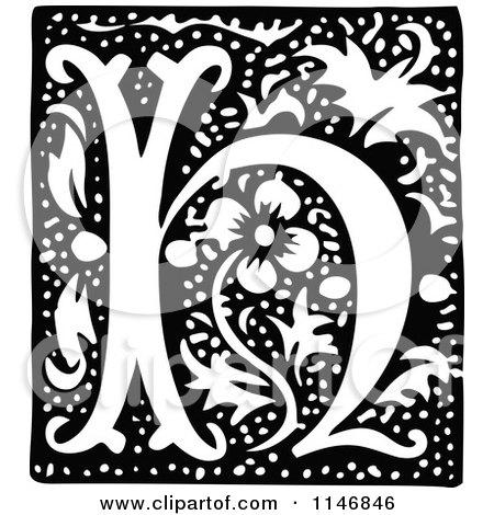 Clipart of a Retro Vintage Black and White Alphabet Letter H Floral Design - Royalty Free Vector Illustration by Prawny Vintage