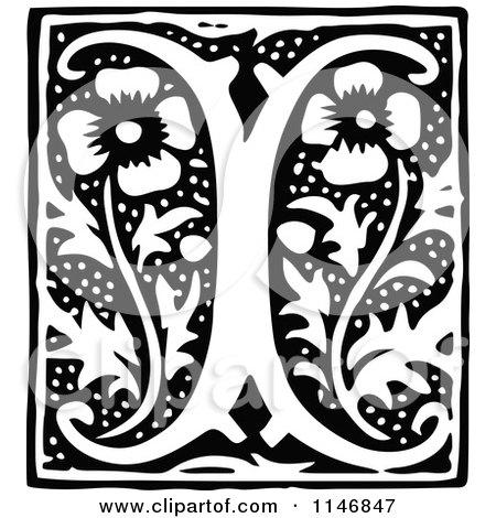 Clipart of a Retro Vintage Black and White Alphabet Letter I Floral Design - Royalty Free Vector Illustration by Prawny Vintage