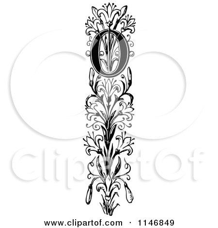 Clipart of a Retro Vintage Black and White Ornate Vertical Alphabet Letter Floral O - Royalty Free Vector Illustration by Prawny Vintage