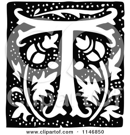 Clipart of a Retro Vintage Black and White Alphabet Letter T Floral Design - Royalty Free Vector Illustration by Prawny Vintage