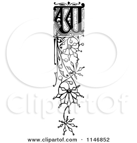 Clipart of a Retro Vintage Black and White Ornate Vertical Alphabet Letter Floral W - Royalty Free Vector Illustration by Prawny Vintage
