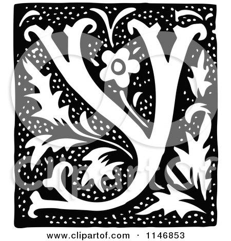 Clipart of a Retro Vintage Black and White Alphabet Letter Y Floral Design - Royalty Free Vector Illustration by Prawny Vintage