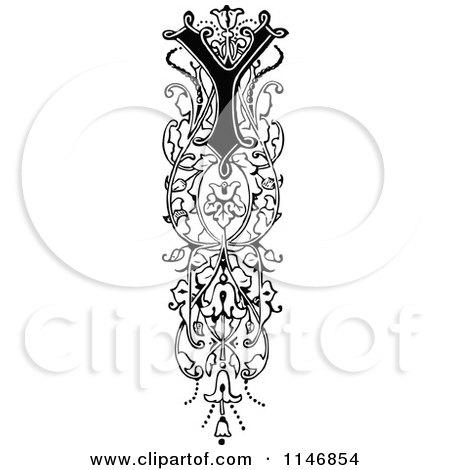 Clipart of a Retro Vintage Black and White Ornate Vertical Alphabet Letter Floral Y - Royalty Free Vector Illustration by Prawny Vintage