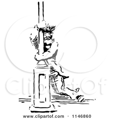 Clipart of a Retro Vintage Black and White Vagrant Man Hugging a Pole - Royalty Free Vector Illustration by Prawny Vintage