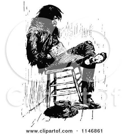 Clipart of a Retro Vintage Black and White Vagrant Man in a Chair - Royalty Free Vector Illustration by Prawny Vintage