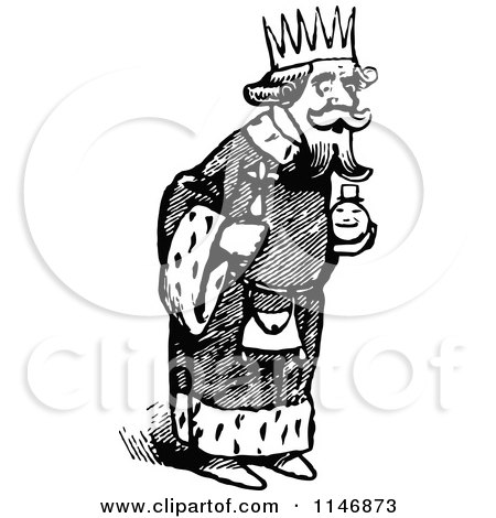 Clipart of a Retro Vintage Black and White King - Royalty Free Vector Illustration by Prawny Vintage