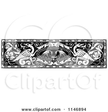 Clipart of a Retro Vintage Black and White Vintage Dragon Border - Royalty Free Vector Illustration by Prawny Vintage