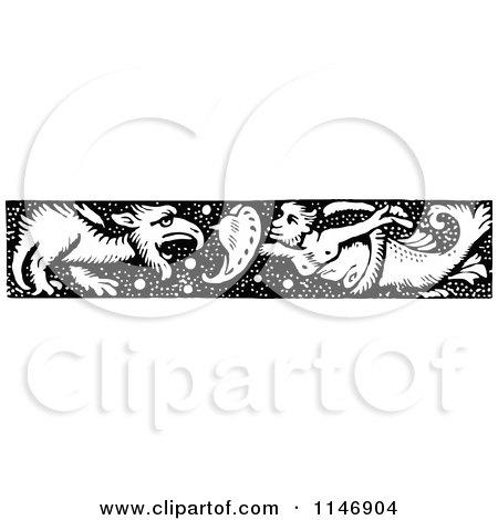 Retro Vintage Black and White Merman Dragon Slayer Border Posters, Art Prints