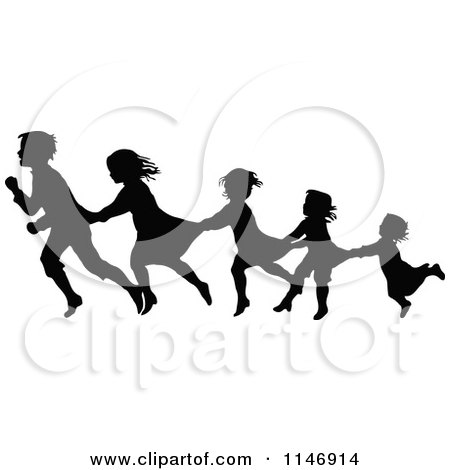 Clipart of a Silhouette Border of Children Following and Holding on - Royalty Free Vector Illustration by Prawny Vintage