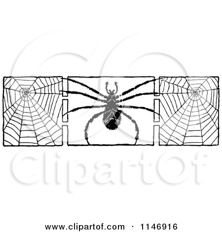 Clipart of a Retro Vintage Black and White Border of a Spider and Webs - Royalty Free Vector Illustration by Prawny Vintage