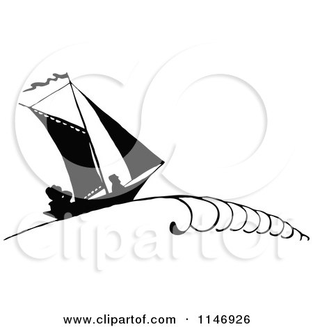 Clipart of a Retro Vintage Silhouetted Sailboat with People - Royalty Free Vector Illustration by Prawny Vintage