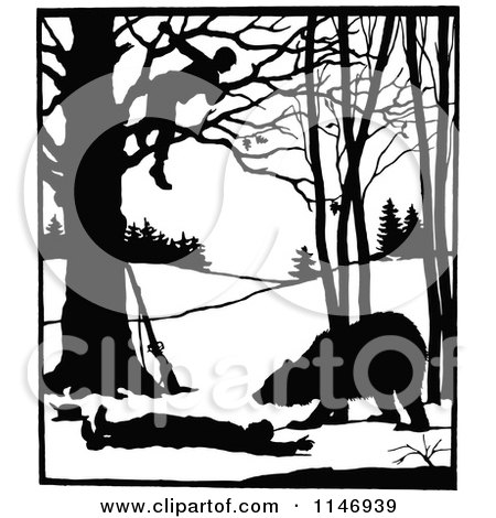 Clipart of a Retro Vintage Silhouetted Man in a Tree over a Bear and Attacked Man - Royalty Free Vector Illustration by Prawny Vintage