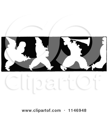 Clipart of a Retro Vintage Silhouetted Border of Marching Clowns - Royalty Free Vector Illustration by Prawny Vintage