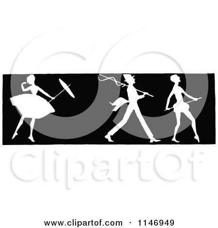 Clipart of a Retro Vintage Silhouetted Border of a Ballerina and Men - Royalty Free Vector Illustration by Prawny Vintage