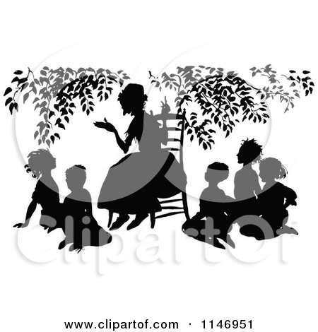 Clipart of a Retro Vintage Silhoueted Teacher and Circle of Students - Royalty Free Vector Illustration by Prawny Vintage