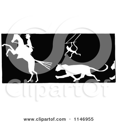 Clipart of Retro Vintage Black and White Silhouetted Circus Animals - Royalty Free Vector Illustration by Prawny Vintage