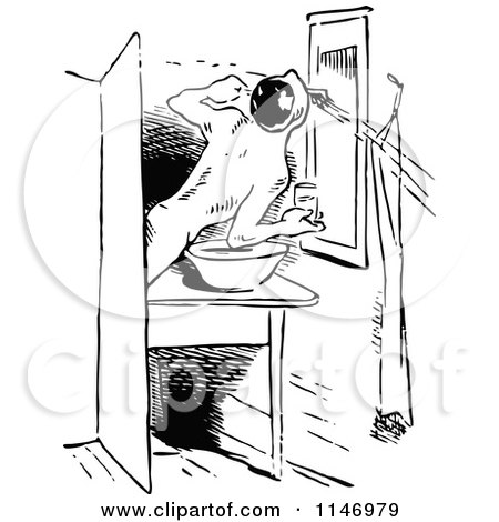 Clipart Of A Retro Vintage Black And White Man Brushing His Teeth In Bathroom