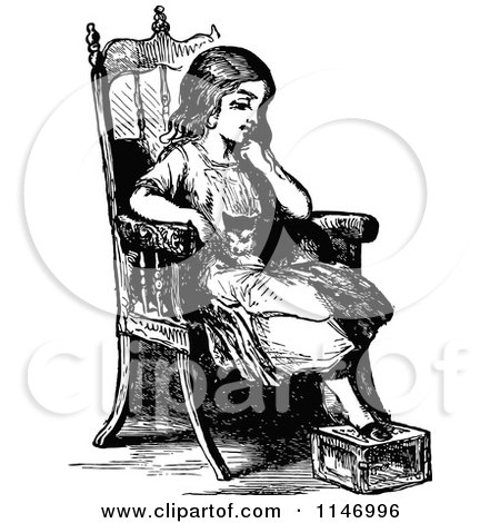Clipart of a Retro Vintage Black and White Pensive Girl and Cat in a Chair - Royalty Free Vector Illustration by Prawny Vintage
