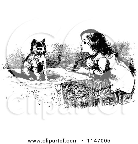 Clipart of a Retro Vintage Black and White Girl and Kitten Having Tea - Royalty Free Vector Illustration by Prawny Vintage