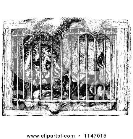 Clipart of a Retro Vintage Black and White Caged Lion and Dog - Royalty Free Vector Illustration by Prawny Vintage