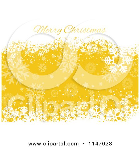 Clipart of a Merry Christmas Greeting with White Snowflake Grunge over Yellow - Royalty Free Vector Illustration by KJ Pargeter