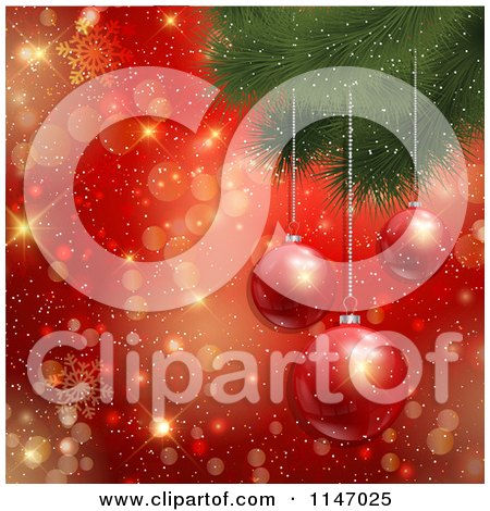 Clipart of 3d Baubles Hanging from a Christmas Tree over Gold Bokeh and Red Snowflakes - Royalty Free Vector Illustration by KJ Pargeter