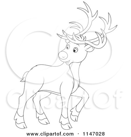 Cartoon of an Outlined Christmas Reindeer Looking Back - Royalty Free Vector Clipart by Alex Bannykh