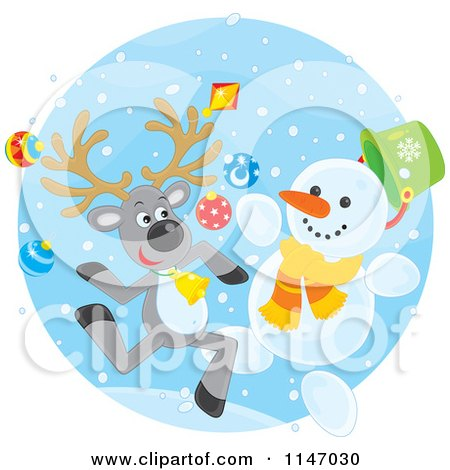 Cartoon of a Happy Christmas Reindeer and Snowman - Royalty Free Vector Clipart by Alex Bannykh