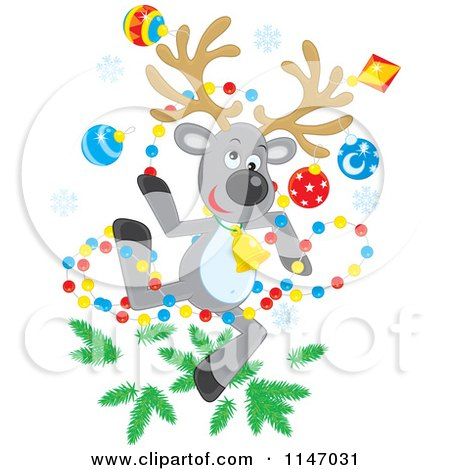 Cartoon of a Christmas Reindeer with Tree Decorations - Royalty Free Vector Clipart by Alex Bannykh