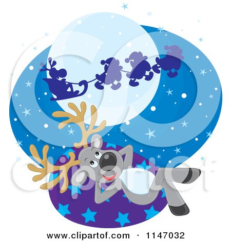 Cartoon of a Christmas Reindeer Watching Santas Sleigh Fly by - Royalty Free Vector Clipart by Alex Bannykh