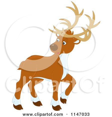 Cartoon of a Christmas Reindeer Looking Back - Royalty Free Vector Clipart by Alex Bannykh