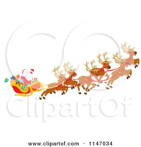Cartoon of Santa with Magic Christmas Reindeer Flying His Sleigh 1 - Royalty Free Vector Clipart by Alex Bannykh