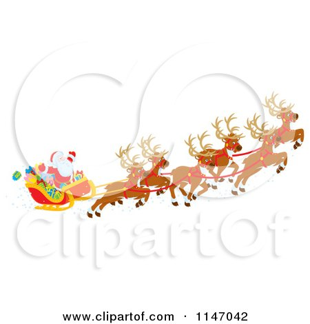 cartoon of santa with magic christmas reindeer flying his sleigh 2 royalty free clipart by alex bannykh - Christmas Reindeer 2