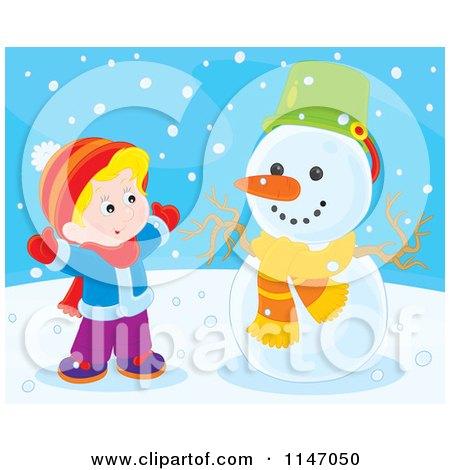 Cartoon of a Happy Boy Making a Snowman 4 - Royalty Free Vector Clipart by Alex Bannykh