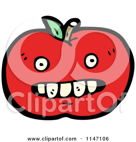 Cartoon of a Red Apple Mascot - Royalty Free Vector Clipart by lineartestpilot