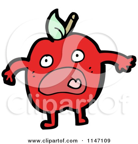 Cartoon of a Scared Red Apple Mascot - Royalty Free Vector Clipart by lineartestpilot
