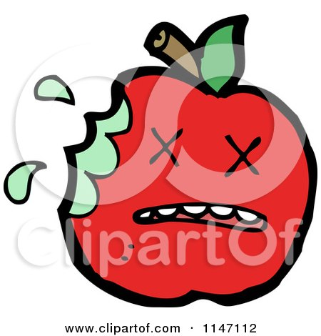 Cartoon of a Dead Red Apple Mascot - Royalty Free Vector Clipart by lineartestpilot