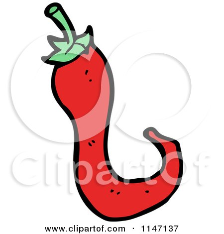 Cartoon of a Spicy Hot Red Chili Pepper - Royalty Free Vector Clipart by lineartestpilot