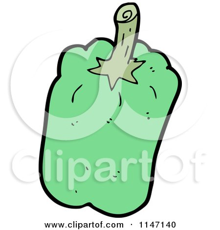 Cartoon of a Green Bell Pepper - Royalty Free Vector Clipart by lineartestpilot