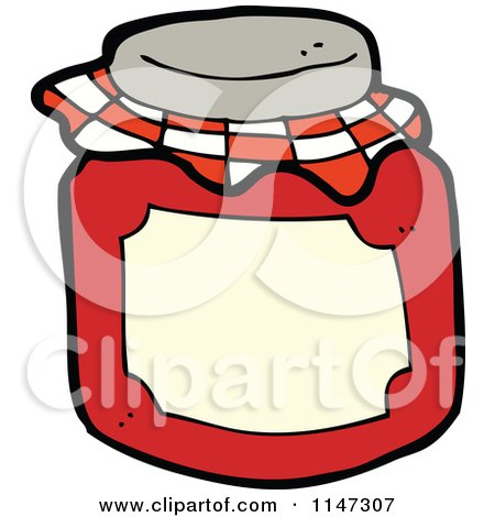 Cartoon of a Jar of Red Fruit Preserves - Royalty Free Vector Clipart by lineartestpilot