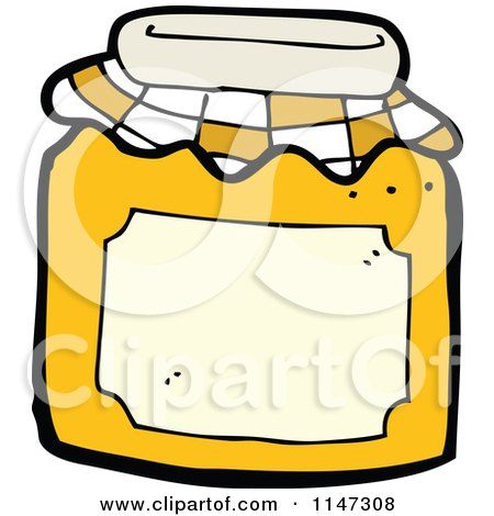 Cartoon of a Jar of Marmalade Fruit Preserves - Royalty Free Vector Clipart by lineartestpilot