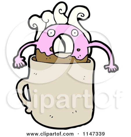 Cartoon of a Pink Donut Mascot in Coffee - Royalty Free Vector Clipart by lineartestpilot
