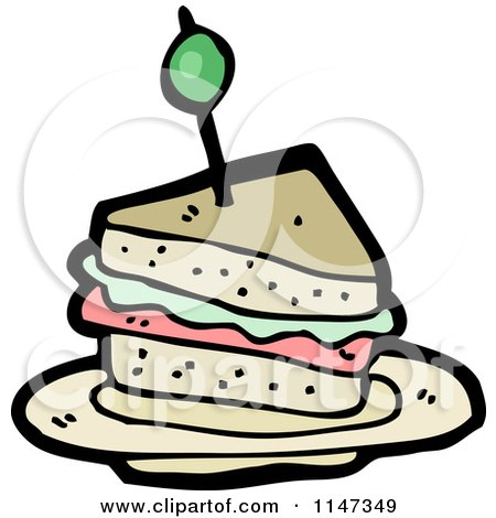 Cartoon of a Sandwich - Royalty Free Vector Clipart by lineartestpilot