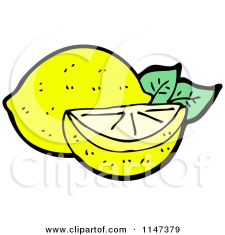 Cartoon of a Lemon and Wedge - Royalty Free Vector Clipart by lineartestpilot