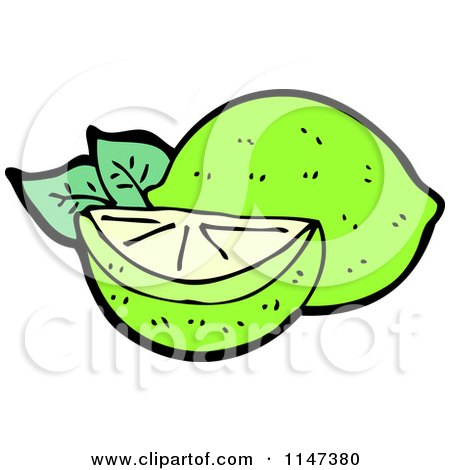 Cartoon of a Lime and Wedge - Royalty Free Vector Clipart by lineartestpilot