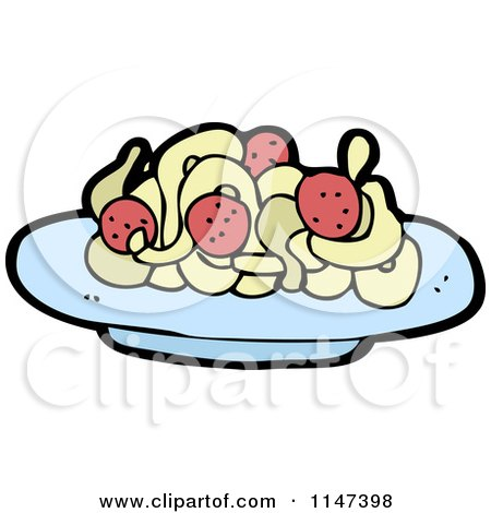 Cartoon of a Plate of Spaghetti and Meatballs - Royalty Free Vector Clipart by lineartestpilot