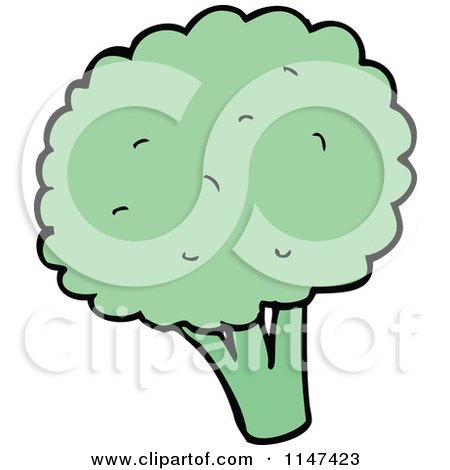 Cartoon of a Head of Broccoli - Royalty Free Vector Clipart by lineartestpilot